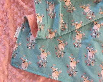 Minky Baby Blanket- Fawn- Baby Deer-  Woodland Theme- Deer Theme- Baby Bedding