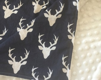 Minky Blanket- Buck Forest- Deer Blanket- Navy and Cream- Antler Theme- Deer Antlers- Silhouette- Woodland Theme- Deer Nursery