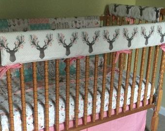 Crib Rail Cover- Woodland Nursery- Crib Rail Guard- Antlers- Baby Bedding