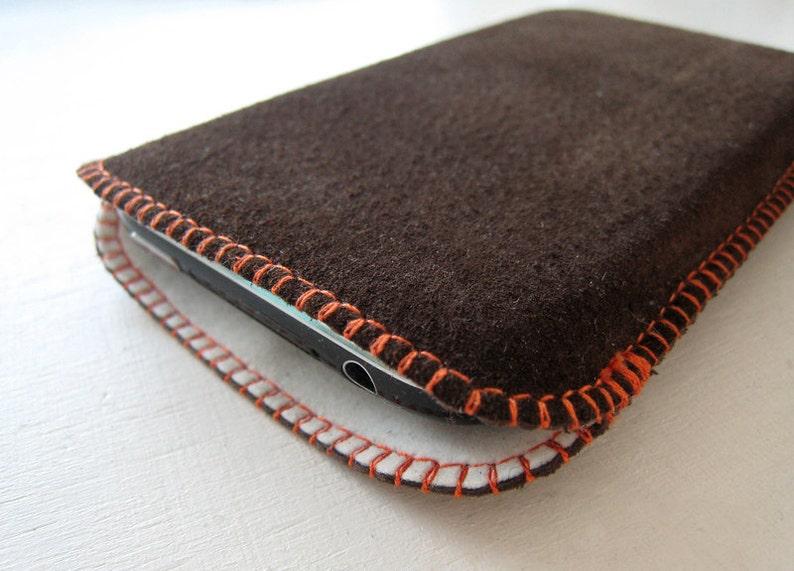 Suede pouch custom  dark brown-orange image 0