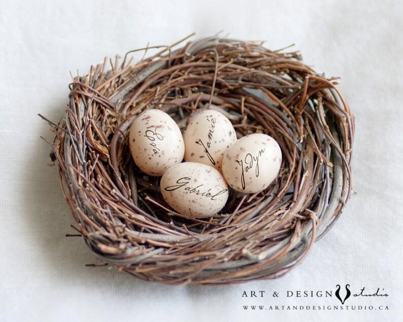 Kids Name Gift for Mom, Personalized Bird Nest Eggs Print, Custom Canvas  Photo Gift, Bird Nest Photo Name Gift, Family Nest Wall Art Print