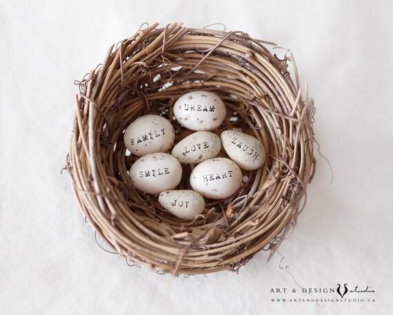 Gifts For Women Birds Egg Nest Shabby Home Decor Egg Print Farmhouse Decor Dream Love Family Joy Laugh Smile Living Room Art Print