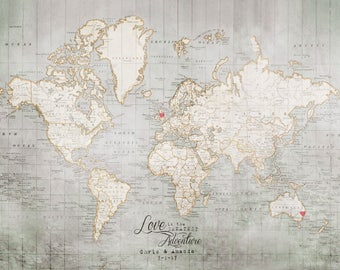 World Map Print, Travel Art Print, Wanderlust, Travel Quote, Travel Maps, Couples Gift, Travel Poster, Love is the Greatest Adventure