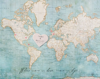 Unique Wedding Guestbooks, Personalized Guest Book Alternative, Custom World Map Print, Personalized Wedding Gift Personalized, Map Wall Art