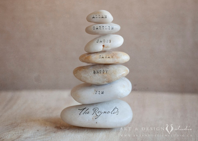 Family Names Sign  Custom Art  Personalized Gifts  Family Name Artwork   Stacking Stones  Hostess Ideas  Housewarming Gifts Personalized