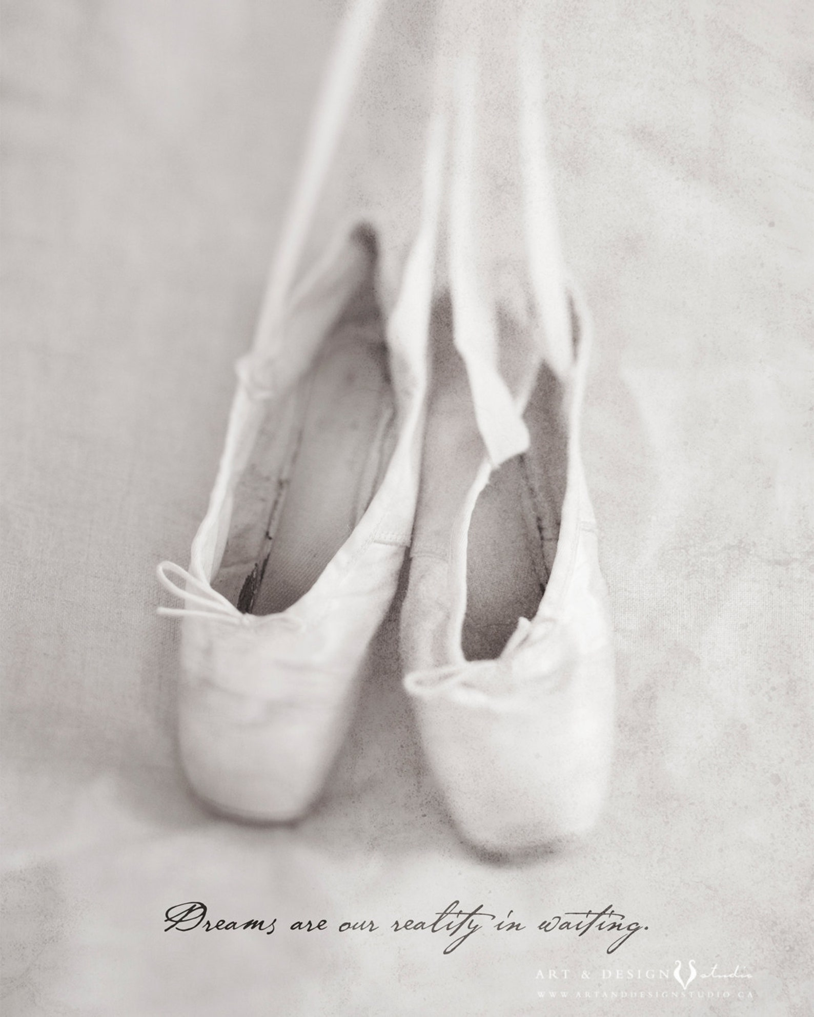 ballet pointe shoe photo fine art print with inspirational quote, home decor for the ballerina dancer, dance art, pink ballet sh