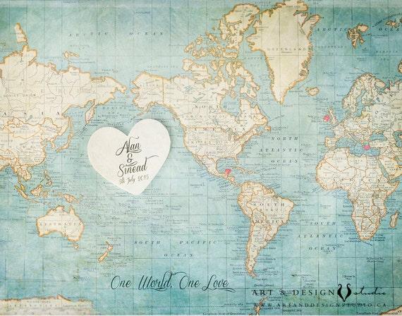"Wedding Guest Book Alternative Wood Puzzle /""World Map/"""