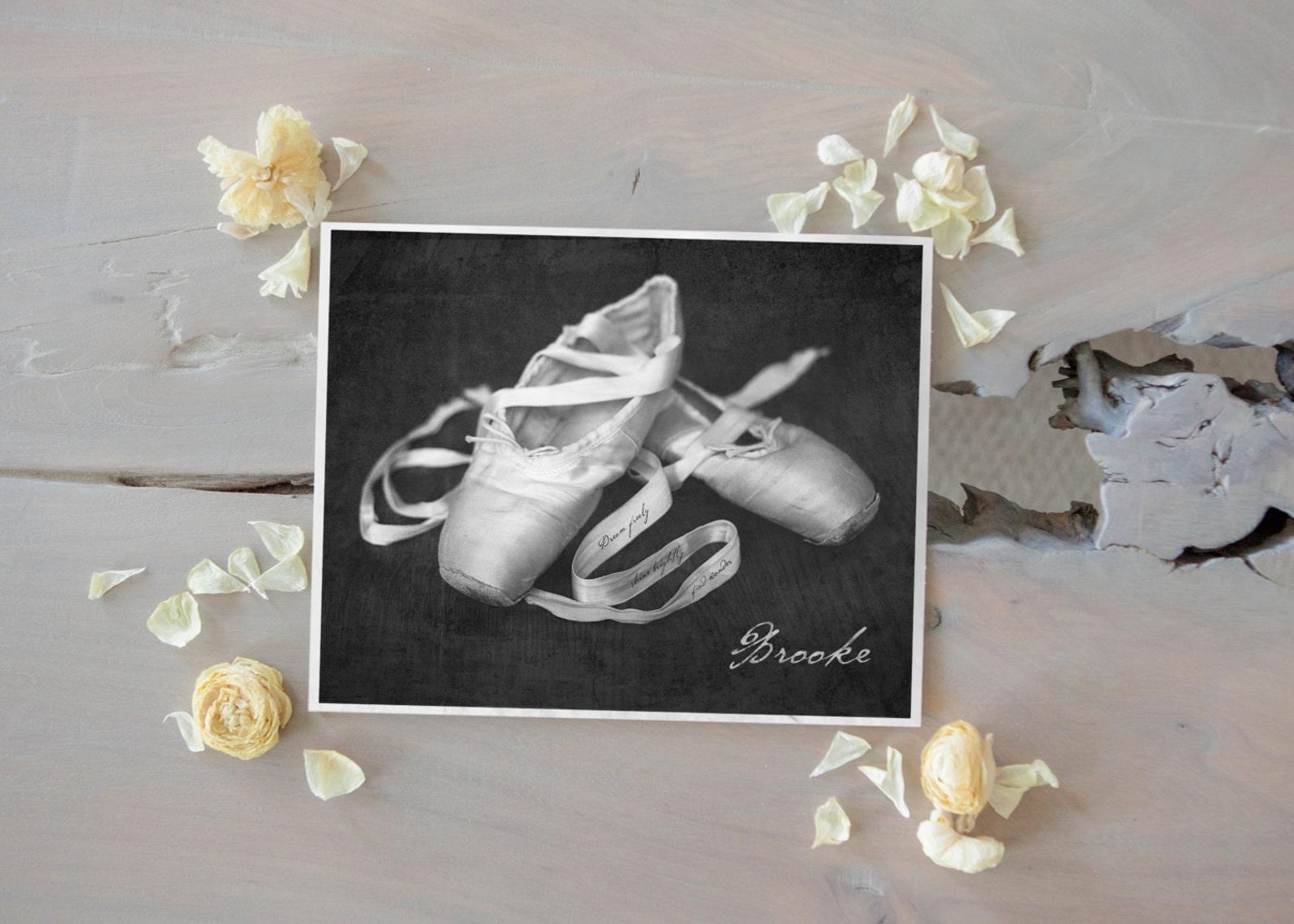 personalized ballet shoe art print, inspirational dance ballet art, ballet slippers photo, ballerina gift, ballet dance wall art