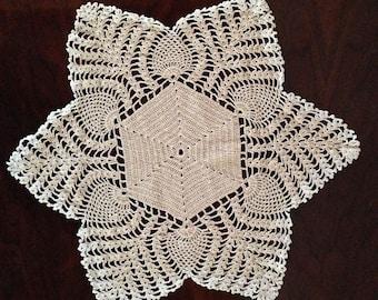 crochet cotton doily -star- heirloom quality