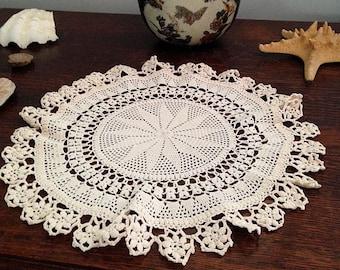 crochet cotton doily -peach- heirloom quality