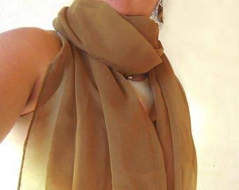 chiffon scarf - chestnut-