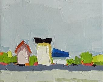 Rustic Trio- Oil Painting, 8x10, On Canvas, Original Landscape Painting