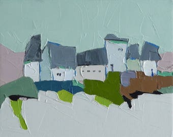 Nordic Green - 9x12 Oil Painting, On Canvas, Original Painting, Farmhouses