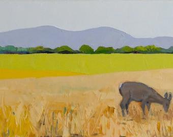 Quiet Morning - 10x30 Landscape Painting, Oil Painting, Original Fine Art