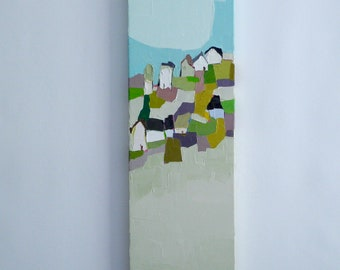 Hillside Patchwork - 8x24 Oil Painting, On Canvas, Farmhouse, Original Painting