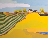 Geometric Farm - Landscape Painting 24x24 Oil Painting on Canvas
