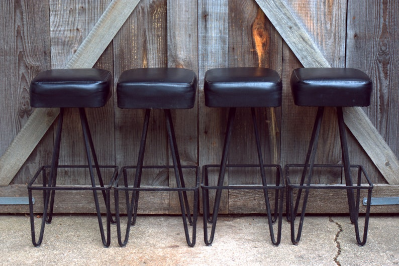 Excellent Vintage Wrought Iron Frederick Weinberg Bar Counter Stools Hairpin Legs Gmtry Best Dining Table And Chair Ideas Images Gmtryco