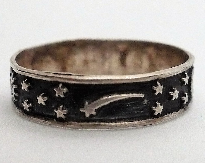 sz 7 1/2 Vintage Celestial Sterling Silver Band Ring