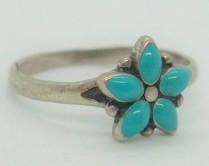 Vintage Bell Trading Petit Point Turquoise Sterling Silver Ring Sz 5 1/2
