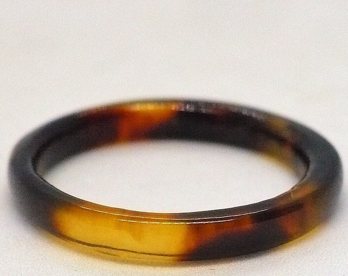 sz 7 1/4 Vintage Simulated Turtle Shell Band Ring