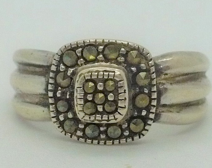 Vintage Marcasite 925 Sterling Silver Ring Sz 9