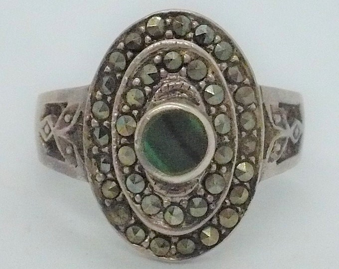 Vintage Oval Malachite Marcasite Sterling Silver Ring Sz 9