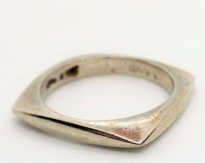 sz 6 1/2 Polished Square Sterling Silver Band Ring