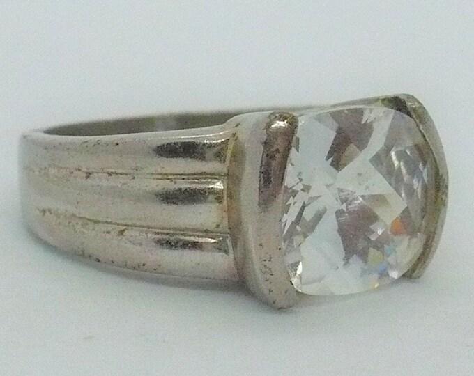 Vintage White Topaz Sterling Silver Ring Sz 8 1/4