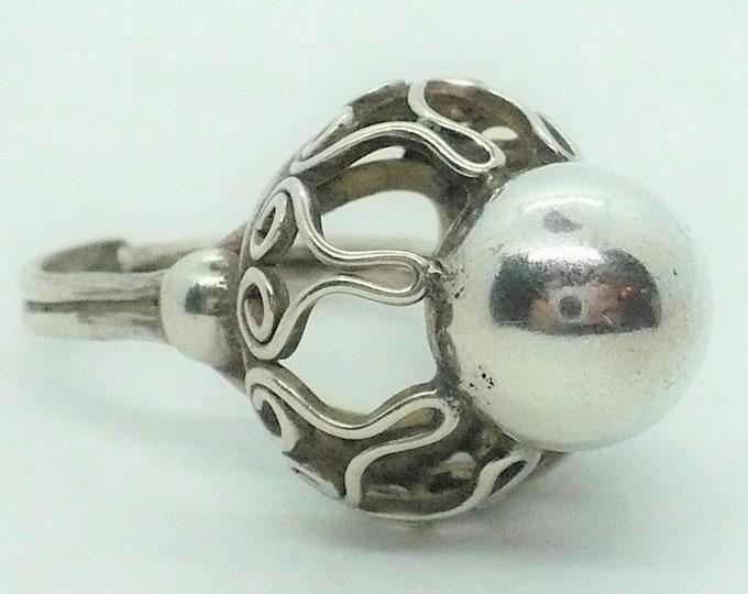 Silver Pearl Filigree Vintage Statement Ring Size 7 Adj