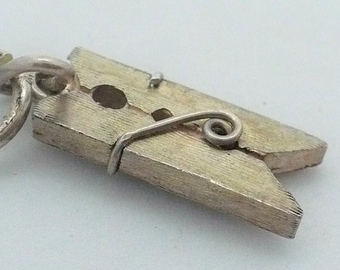 Clothespin Charm Vintage Silver Charm