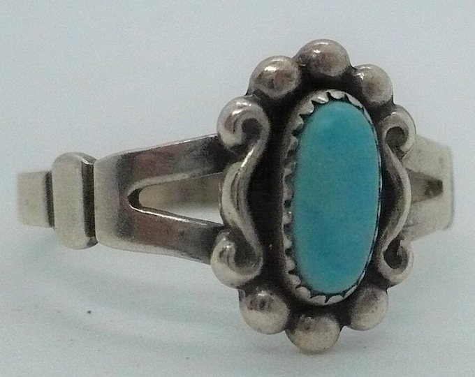 Vintage Bell Trading Turquoise Sterling Silver Ring Sz 7 1/2