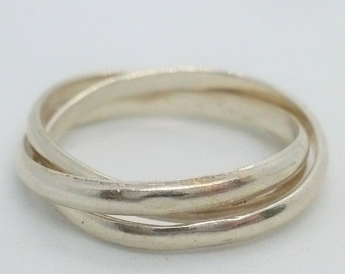 sz 8 Interlocking Triplet Rolling Sterling Silver Ring