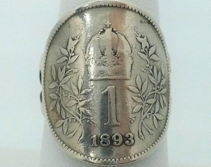 1893 Austria Coin Signet Ring 1 Corona Size 7 1/2