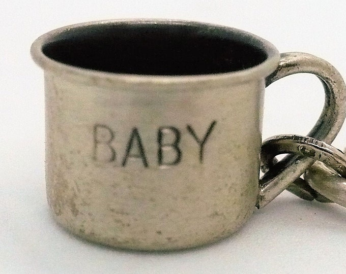 """Baby's First Cup Charm """"BABY"""" Beau Vintage Sterling Silver Charm"""