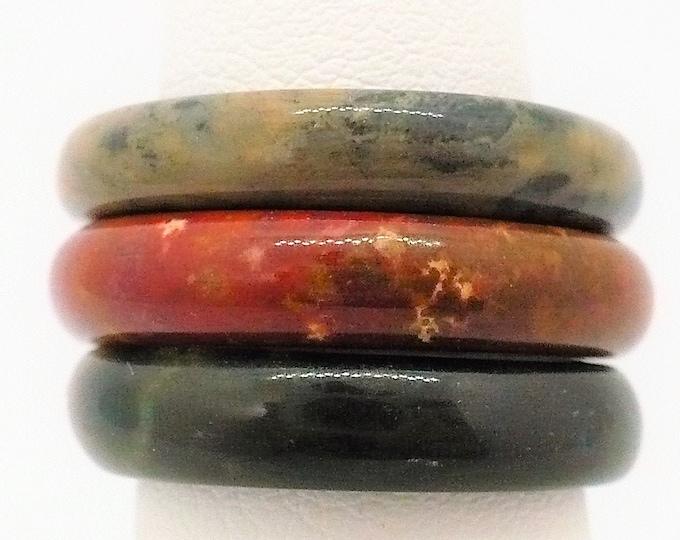 sz 6 Stacking Gemstone Band Ring Set of Three Vintage Jewelry