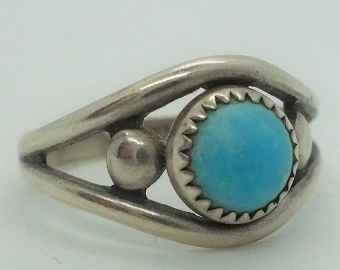Vintage Bell Trading Turquoise Snake Eye Sterling Silver Ring Sz 7 1/2