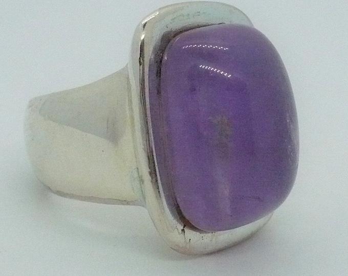 Vintage Natural Cabochon Amethyst Silver Statement Ring Sz 9 1/4 Francesca Romana