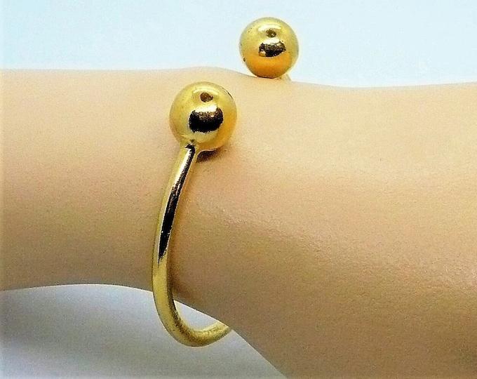 14K Yellow Gold Plate Torque Bracelet Polished Ball Cuff Bracelet Small