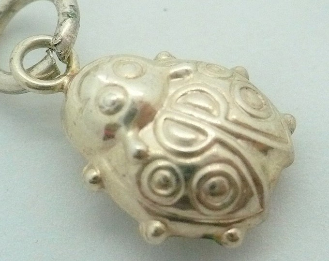 Smiling Ladybug Charm Vintage Silver Charm
