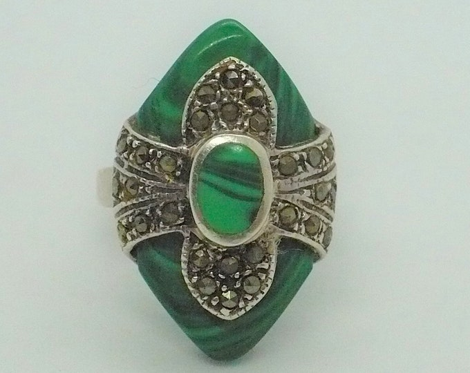 Antique Marquise Malachite Marcasite Sterling Silver Ring Sz 7