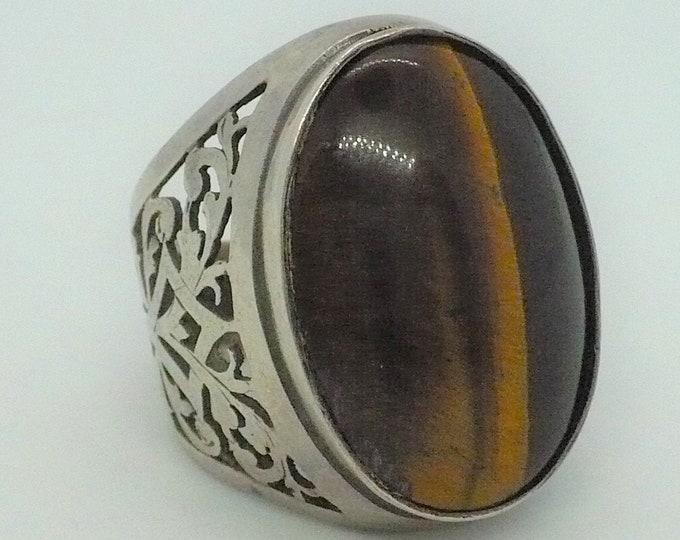 Vintage Tigers Eye 925 Sterling Silver Signet Ring Made In Israel Sz 8 3/4