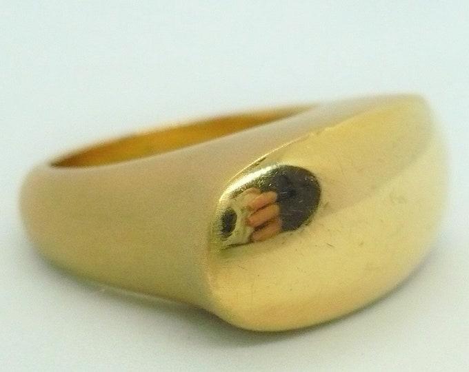 sz 9 1/4 Gold 18k Mens Signet Ring Vintage Jewelry