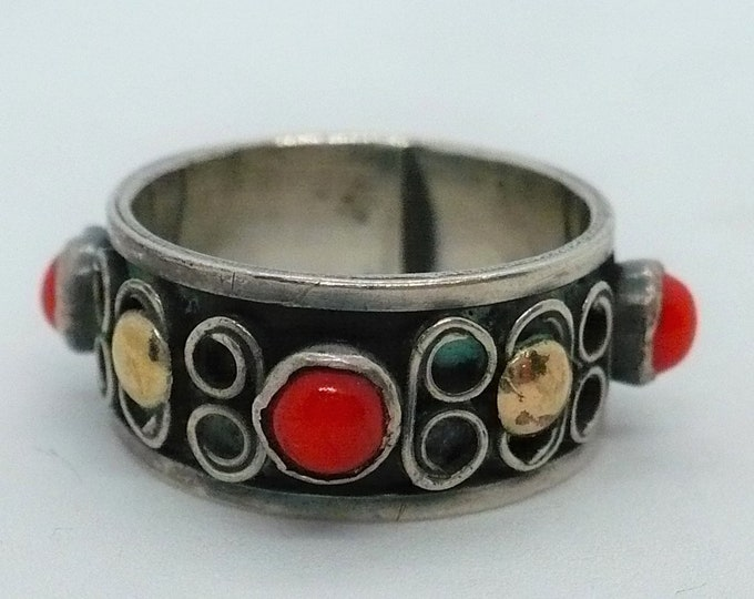 Bali Gold Silver Band Ring Size 6 1/2