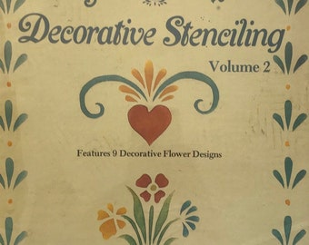 Stenciling Craft Book / Cottage Flower Designs Patterns / Vintage Craft Supply / Get Lucky Vintage