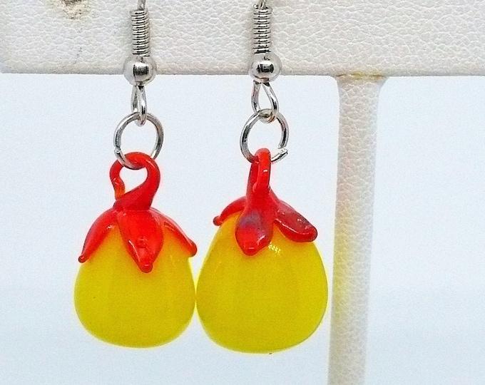Sweet Vintage Venetian Glass Lampwork Fruit Pieced Earrings