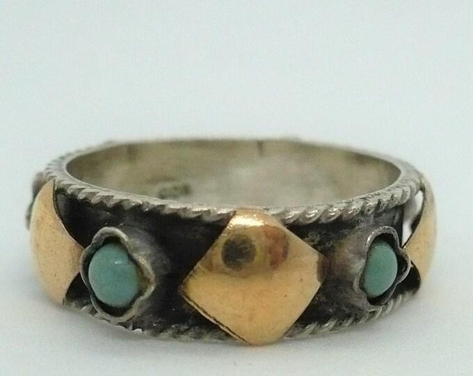 sz 8 Bali Gold Silver Band Ring
