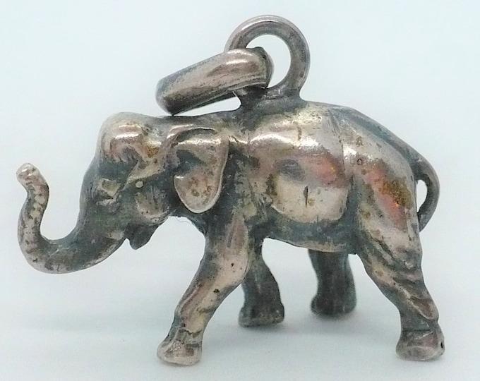 Elephant Pendant Trunk Up Lucky Silver Charm