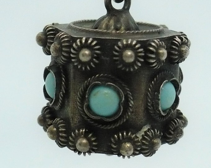 Prayer Wheel Charm Bali Ornate Silver Indonesian Souvenir Charm Vintage Jewelry