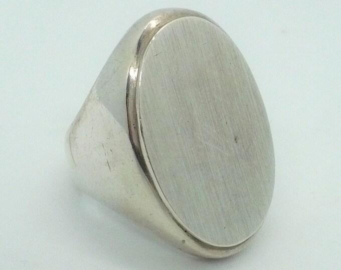 S'Paliu Modernist Vintage Sterling Silver Signet Ring Size 9