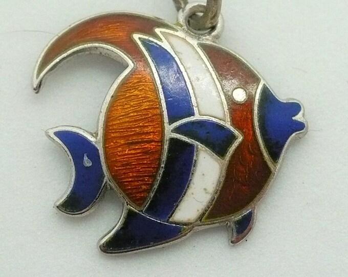 Angelfish Charm Guilloche Enamel Silver Charm For Bracelet Vintage Angel Fish